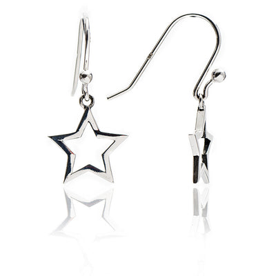 Glittering 925 Sterling Silver Silhouette Star Drop Earrings