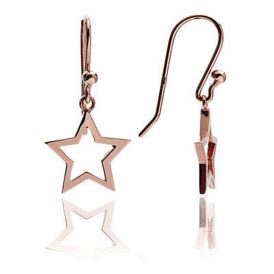 18ct Rose Gold Vermeil Silhouette Star Drop Earrings