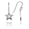 Sterling Silver Filigree Star Drop Earrings