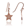 18ct Rose Gold Vermeil Filigree Star Drop Earrings