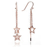Unique  Celestial 18ct Rose Gold Vermeil Star Charm Dangle Earrings