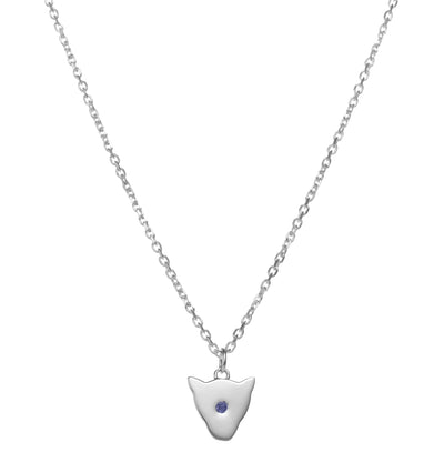 Exotic sterling silver Jaguar head Pendant Necklace with blue sapphire