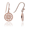 Rose Gold Jaguar Head Circular Filigree Drop Earrings