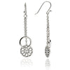 Sterling Silver Jaguar Head Circular Filigree  Charm  Dangle Earrings