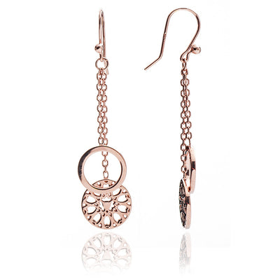 18ct Rose Gold Vermeil Jaguar Head Circular Filigree Charm Dangle Earrings
