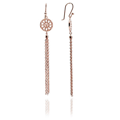 18ct Rose Gold  Vermeil Jaguar Head Circular Filigree Tassel Earrings