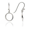 Womens Contemporary Sterling Silver Circular Charm Jaguar Earrings