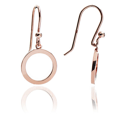 Womens Contemporary 18ct Rose Gold Vermeil Circular Charm Drop Jaguar Earrings
