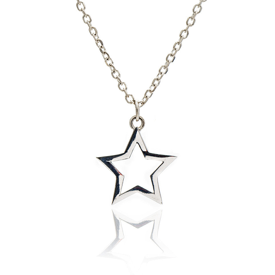 Sterling silver silhouette charm star pendant necklace chavin sterling silver silhouette charm star pendant necklace aloadofball Images