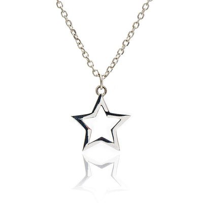 Sterling Silver Silhouette  Charm Star Pendant Necklace