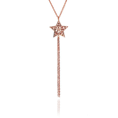 Rose Gold Tassel Star Necklace