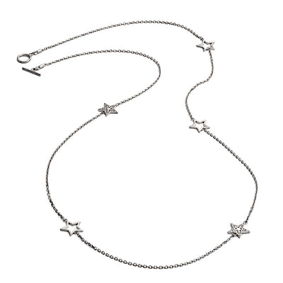 Sparkling 925 Sterling Silver Five Charm Star Necklace