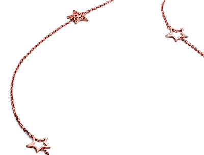 Glittering 18ct Rose Gold Vermeil Five Charm Star Necklace