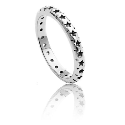Exotic Sterling Silver Star Lattice Ring