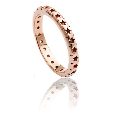 18ct Rose Gold Vermeil Star Lattice Ring