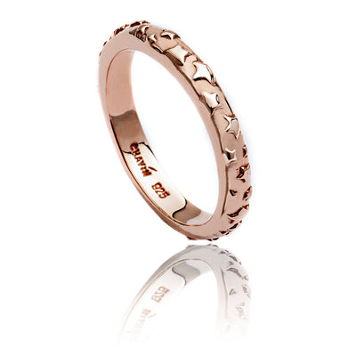 18ct Rose Gold  Vermeil Star Pattern Ring