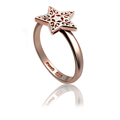 Exotic 18ct Rose Gold Vermeil Filigree Star Charm Ring