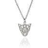 Exotic 925 Sterling Silver Filigree Jaguar Head Pendant Necklace