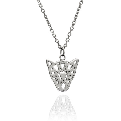 Sterling Silver Filigree Jaguar Head Pendant Necklace