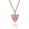 18ct Rose Gold  Vermeil  Filigree Jaguar Head Pendant Necklace