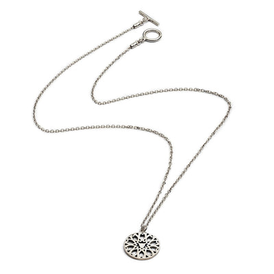 Sterling Silver Circular Filigree Jaguar Head Pendant Necklace