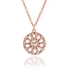 18ct Rose Gold Vermeil Circular Filigree Jaguar Head  Charm Pendant Necklace