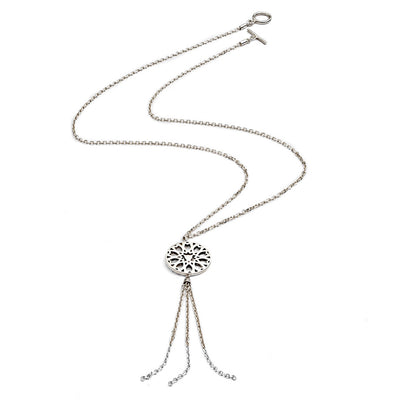 Sterling Silver Circular Filigree Jaguar Tassel Necklace As Worn By X Factor Presenter Pips Taylor
