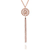 18ct Rose Gold Vermeil Circular Filigree Jaguar Tassel Necklace