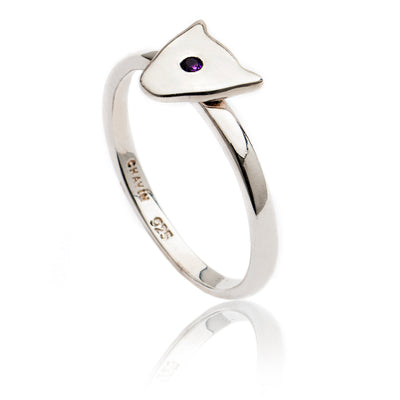 Women's Exotic Sterling Silver Jaguar Head Ring with amethyst/blue sapphire