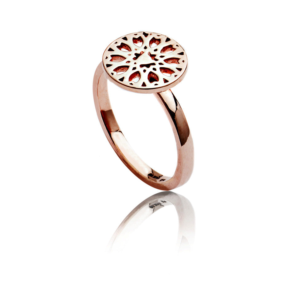 18ct Rose Gold Vermeil Circular Jaguar Filigree Ring