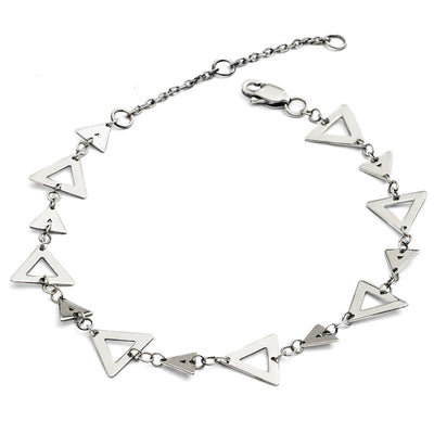 Dainty 925  Sterling Silver Silhouette Charm Triangle Bracelet