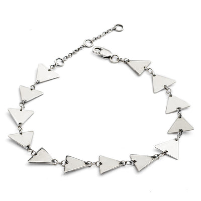 Glittering Sterling Silver  Solid Triangle  Bracelet