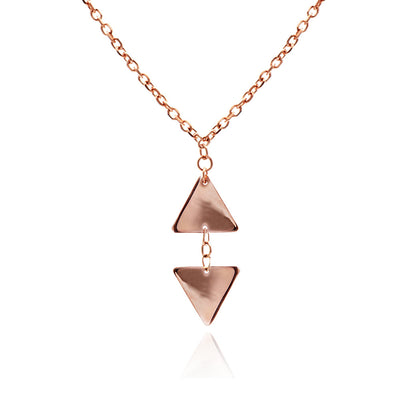 18ct Rose Gold Vermeil Small Triangle  Pendant Necklace