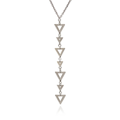 Sterling Silver Triangle Charm Pendant Necklace