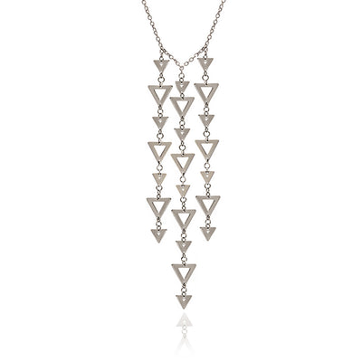 Sterling Silver Large Triangle Charm Pendant Necklace