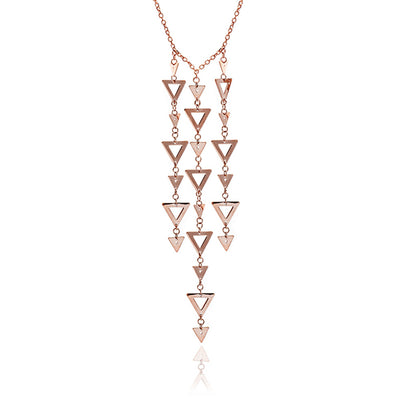 18ct Rose Gold Vermeil Large Triangle Charm Pendant Necklace