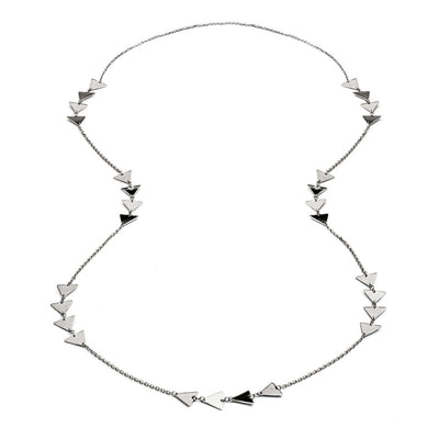 Long Sterling Silver  Triangle  Charm Necklace