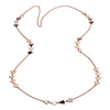 Long 18ct Rose Gold Vermeil  Triangle Charm Necklace
