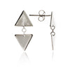 925 Sterling Silver Triangle Charm  Stud Earrings