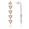 18ct. Rose Gold  Vermeil Triangle Charm  Dangle Earrings