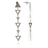 Glittering 925 Sterling Silver Alternating  Triangle Charm  Earrings