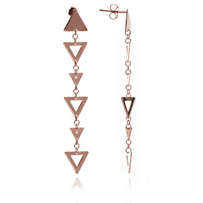 18ct Rose Gold Vermeil Alternating  Triangle Charm  Earrings