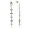 Glittering Sterling Silver  Solid Charm Triangle Dangle Earrings