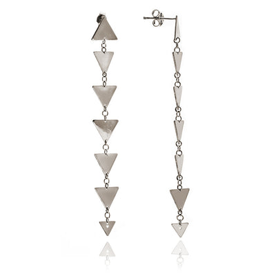 Glittering 925 Sterling Silver  Solid Charm Triangle Dangle Earrings