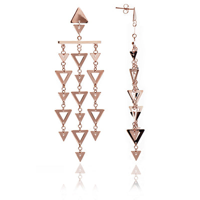 18ct Rose Gold  Vermeil Statement Triangle Earrings