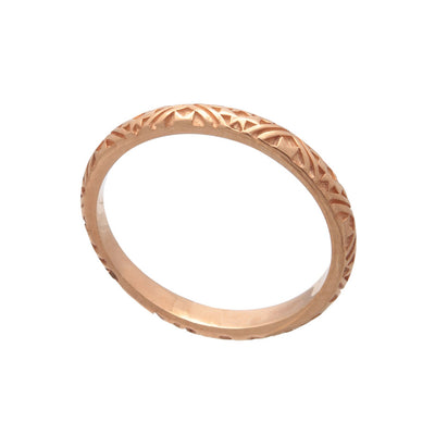 Exotic Women's 18ct Rose Gold  Vermeil Tribal Pattern Stacking Band