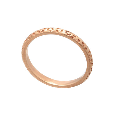 18ct Rose Gold Vermeil Jaguar Pattern Stacking Ring Band