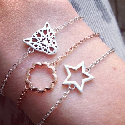 Sterling Silver Silhouette Star Charm Bracelet