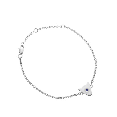 925 Sterling Silver Jaguar Head Silhouette Bracelet  with amethyst or blue sapphire
