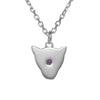 Exotic 925 sterling silver Jaguar head Pendant Necklace with amethyst